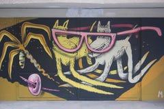 sztuki kolorowa zakrywająca graffiti ulicy ściana Obrazy Royalty Free
