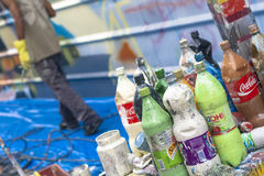 sztuki kolorowa zakrywająca graffiti ulicy ściana Obrazy Stock