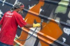 sztuki kolorowa zakrywająca graffiti ulicy ściana Fotografia Stock