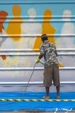 sztuki kolorowa zakrywająca graffiti ulicy ściana Fotografia Royalty Free