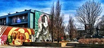 sztuki kolorowa zakrywaj?ca graffiti ulicy ?ciana zdjęcie stock