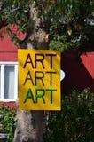 Sztuki sztuki sztuki koloru żółtego znak Fotografia Royalty Free