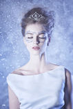 sztuki kreatywnie mody wysokości klucza makeup królowej zima Obrazy Stock
