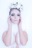 sztuki kreatywnie mody wysokości klucza makeup królowej zima Obraz Stock