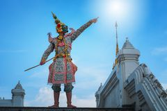 Sztuki kultury Tajlandia taniec w zamaskowanym khon w literatury ramayana, Tajlandzka klasyczna ma?pa maskuj?ca, Khon, Tajlandia obraz stock
