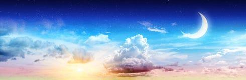 Sztuki lata nieba nocy gwiazdy i księżyc Obrazy Stock