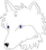 sztuki linii stylizowany biały wilk ilustracja wektor