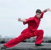 sztuki mężczyzna wojenny praktyka czerwieni wushoo Fotografia Stock
