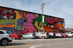 Sztuki malowidła ściennego Detroit Michigan usa ulicy Wschodnia targowa scena Zdjęcia Stock
