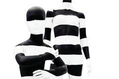 Sztuki mannequin czarny i biały stripesisolated na białym tle zdjęcie stock