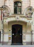 Sztuki Nouveau budynku czerepu fasadowi 8 Antonijas uliczny Ryski Zdjęcia Stock