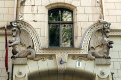 Sztuki Nouveau budynku fasadowy czerep Antonijas 8 uliczny Ryski Latvia Obraz Royalty Free