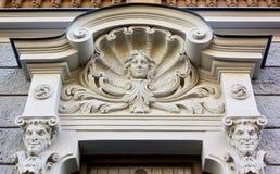 Sztuki Nouveau rzeźba na fasadzie pałac w Ryskim Obraz Stock