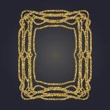 Sztuki Nouveau złocistej błyskotliwości prostokąta wektoru dekoracyjna rama dla projekta Art Deco stylu granica Obrazy Stock