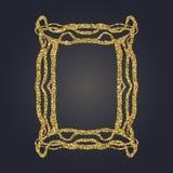 Sztuki Nouveau złocistej błyskotliwości prostokąta wektoru dekoracyjna rama dla projekta Art Deco stylu granica Zdjęcie Stock