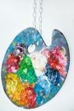 Sztuki paleta z nafcianymi farbami Fotografia Stock