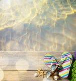 Sztuki plażowy lato; plażowi akcesoria fotografia royalty free