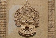 Sztuki praca robić z jutowej i naturalnej innej materialnej przedstawienie twarzy Kerala kathakali tradycyjny tancerz Obrazy Stock