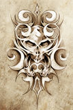 sztuki projekta potwora nakreślenia tatuaż plemienny Fotografia Royalty Free