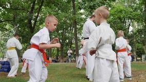 Sztuki samoobrony trenuje w parku, sporty dla dzieciaków, chłopiec w kimonie uczestniczą pojedynczą walkę, karate outdoors, walk  zbiory wideo