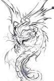 sztuki smoka nakreślenia tatuaż ilustracji