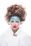 sztuki twarzy moda uzupełniająca Zakończenie portret odizolowywający na białym tle piękna młoda kobieta Zdjęcia Royalty Free