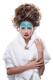 sztuki twarzy moda uzupełniająca Zakończenie portret odizolowywający na białym tle piękna młoda kobieta Zdjęcia Stock