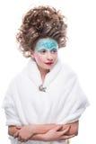 sztuki twarzy moda uzupełniająca Zakończenie portret odizolowywający na białym tle piękna młoda kobieta Zdjęcie Stock