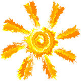 Sztuki uderzenia pluśnięcia arogancka farba odizolowywał wektorowego słońce abstrakta tło Zdjęcia Stock
