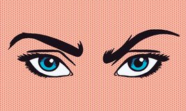 Sztuki wektorowa ilustracja marszczyć brwi oczy ilustracji