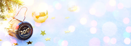 Sztuki 2017 Wesoło boże narodzenia i szczęśliwi nowy rok bawją się Zdjęcia Stock