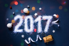 Sztuki 2017 Wesoło boże narodzenia i szczęśliwi nowy rok wigilia; Partyjny backgrou Zdjęcia Royalty Free