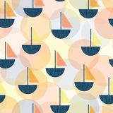 Sztuki Współczesnej Deco żaglówek wektoru bezszwowy wzór Rocznika Parawanowego druku stylu łodzie błękit, pomarańcze, koralowy ko royalty ilustracja