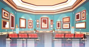 Sztuki współczesnej galeria w muzealnym wewnętrznym kreatywnie współczesnym obrazów eksponatów lub grafika mieszkaniu horyzontaln royalty ilustracja