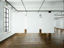 Sztuki współczesnej muzealny expo w loft wnętrzu Otwartej przestrzeni studio Pusty biały brezentowy obwieszenie Drewniana podłoga Zdjęcie Stock