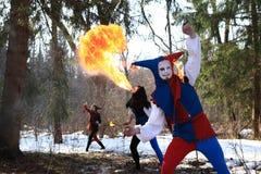 sztuki wspólnych elementów ognisty przedstawienie seans Obrazy Royalty Free