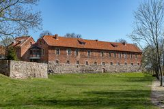 Sztum, Pomorskie / Poland - April, 16, 2019: Historic Teutonic castle in Central Europe. A brick building from the Middle Ages. Season of the spring royalty free stock images