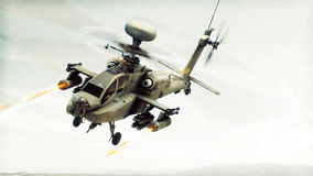 Szturmowego Apache longbow śmigłowcowy śmigłowiec szturmowy angażuje cel podpala swój rakiety Zdjęcia Royalty Free