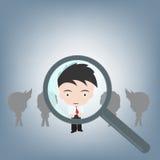 Szukać ludzi dla prawej pracy powiększać, działu zasobów ludzkich pojęcia ilustracyjny wektor w płaskim projekcie Fotografia Stock
