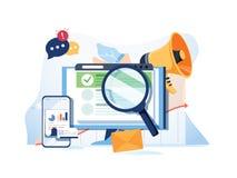 Szuka rezultata optymalizacja SEO marketingowych analityka płaskiego wektorowego sztandar z ikonami SEO występ, celuje ilustracji