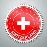 Szwajcar flaga etykietka Fotografia Stock