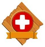Szwajcar flaga projekt na round odznace z sztandarem ilustracja wektor