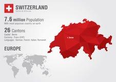 Szwajcaria światowa mapa z piksla diamentu teksturą Obraz Stock