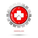 Szwajcaria czerwieni zegar Obrazy Royalty Free