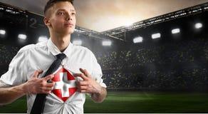 Szwajcaria futbolu lub piłki nożnej zwolennika seansu flaga zdjęcie stock