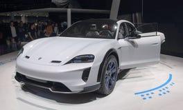 Szwajcaria; Genewa; Marzec 8, 2018; Porsche misi e przód; The Zdjęcie Stock