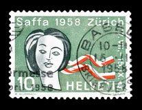 Szwajcaria na znaczkach pocztowych zdjęcie stock