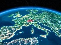 Szwajcaria od przestrzeni przy nocą Zdjęcie Stock