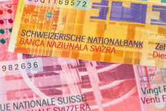 Szwajcaria pieniądze szwajcarskiego franka banknot obraz stock