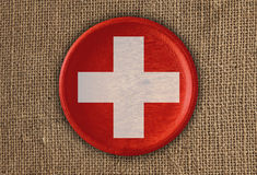 Szwajcaria Textured Wokoło Chorągwianego drewna na szorstkim płótnie zdjęcie royalty free